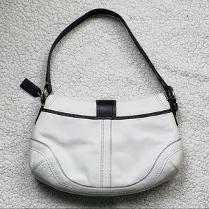 Coach Bags - Coach White Leather With Brown Trim Buckle Flap